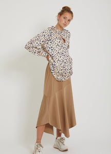 Blouse in moon print with balloon sleeves - almond milk
