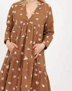 Dress with long sleeves and pocket in orchid print