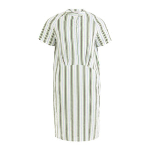 Shortsleeved dress with buttons and stripes