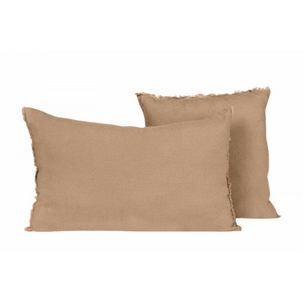 Linen cushion 40 x 60 cm with fringes, colour warm camel