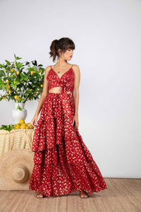 Ivya Skirt Gold Foild Red