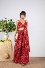 Load image into Gallery viewer, Ivya Skirt Gold Foild Red
