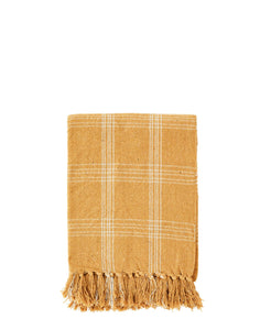 Checked woven throw in a warm honey colour, size 125 x 150 cm