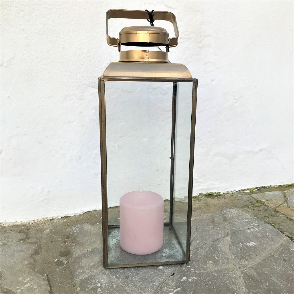Lantern for garden or indoors, colour clear antique brass