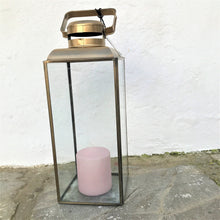 Load image into Gallery viewer, Lantern for garden or indoors, colour clear antique brass