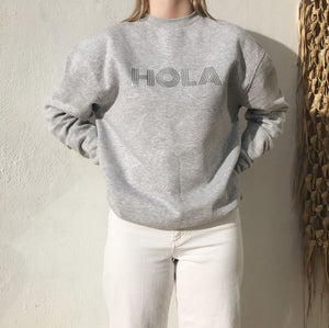 Sweat shirt marbled grey with Hola applique in silver