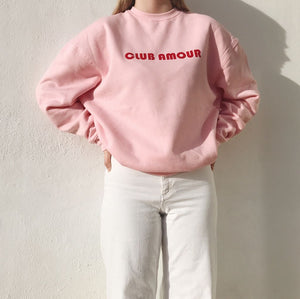 Sweat shirt in pink candy with Club Amour applique