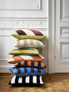Striped velvet cushion 50 x 50, colour grey/gold