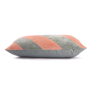 Striped cushion velvet grey/nude, size 40 x 60 cm
