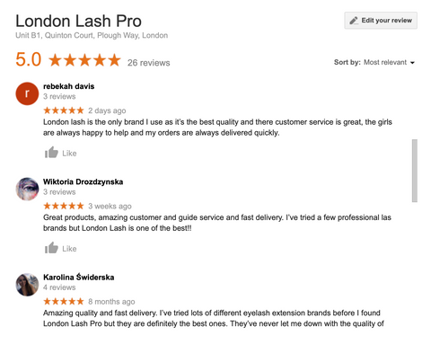 Reviews, Google Seach, google business page, lash technicians, small business, growth, SEO, business