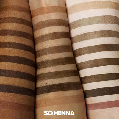 brow henna colour swatches long lasting brow tinting results. henna brows, brow henna kit
