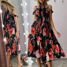 Load image into Gallery viewer, Summer Off Shoulder Ruffle Party Dress Floral Print Sling Dress
