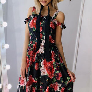 Summer Off Shoulder Ruffle Party Dress Floral Print Sling Dress