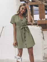 Load image into Gallery viewer, Vintage button women dress shirt V neck short sleeve cotton linen