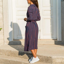 Load image into Gallery viewer, Striped Midi Dress Summer Turn Down Collar Casual
