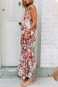 Summer Flounce Boho Floral Maxi Dress In Pink