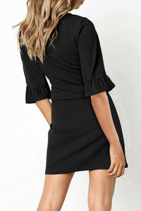V Neck Ruffled Sleeves Waist Tie Black Mini Dress