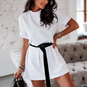 Women Summer Casual O-neck Short Sleeve Solid Party Dress