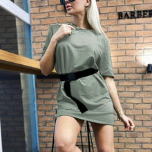 Load image into Gallery viewer, Women Summer Casual O-neck Short Sleeve Solid Party Dress