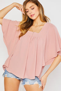 FLOWY BUTTERFLY BLOUSE-BLUSH