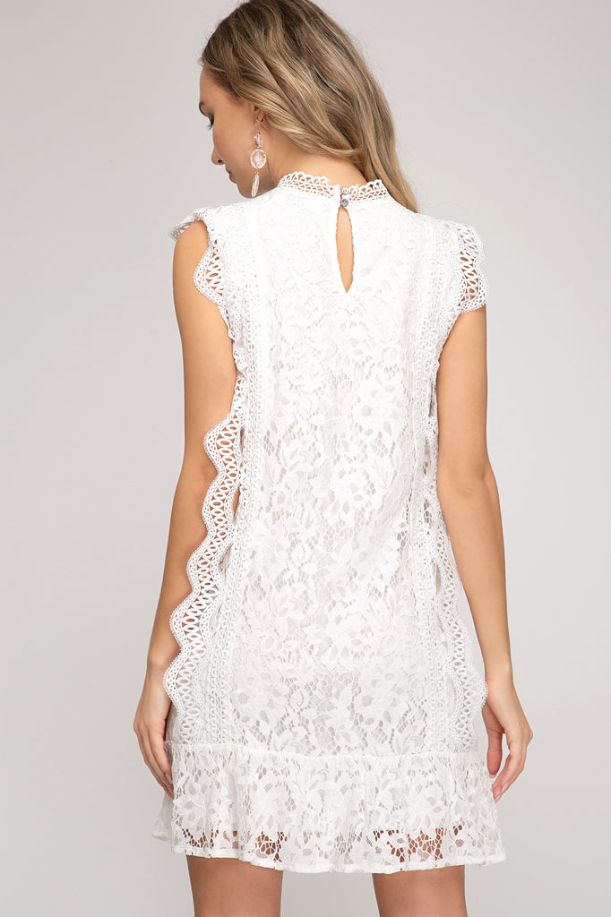 Fine By Me Lace Dress Off White
