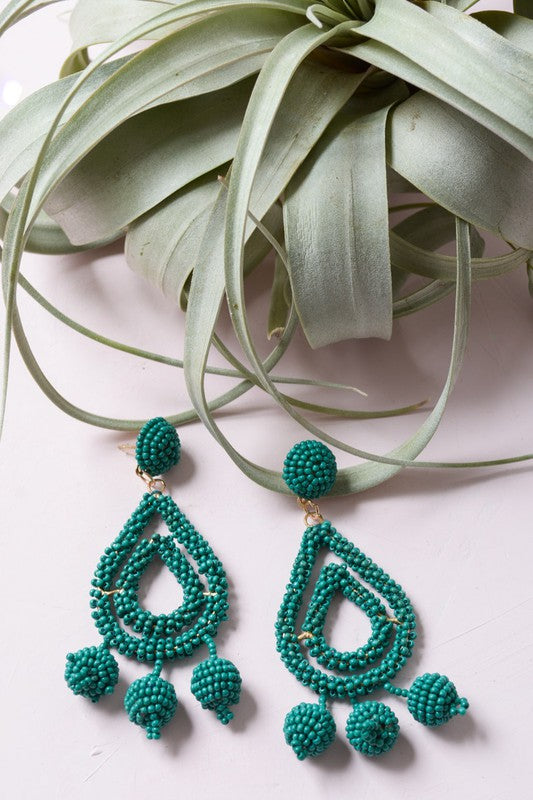 Bora Bora Beaded Earrings Jade