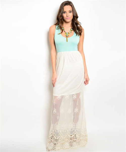 Sweet Lace Mint and Ivory Maxi Dress