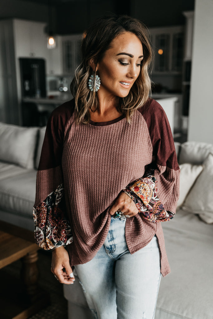 Wine Night Waffle Knit Top