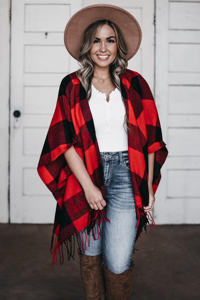 Mad For Plaid Shawl Red/Black