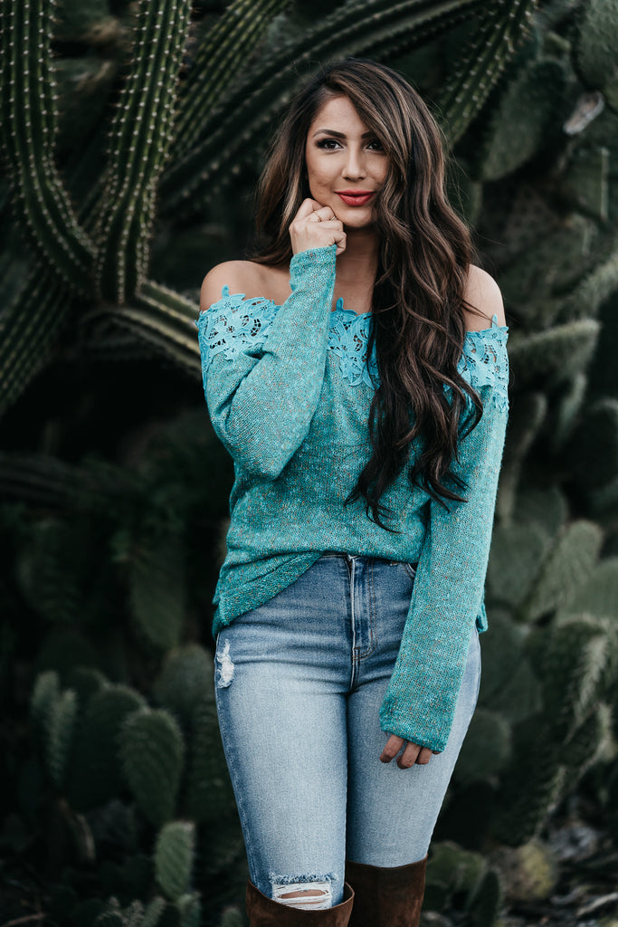 Love Always Teal Sweater