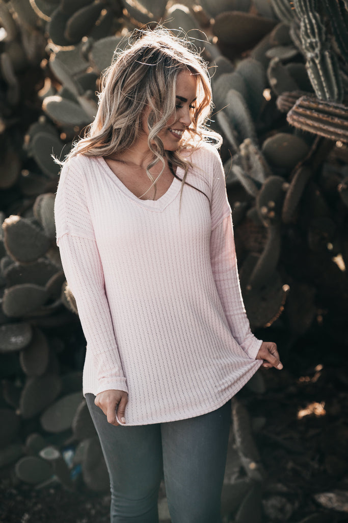 Delicate Cable knit Top Pink