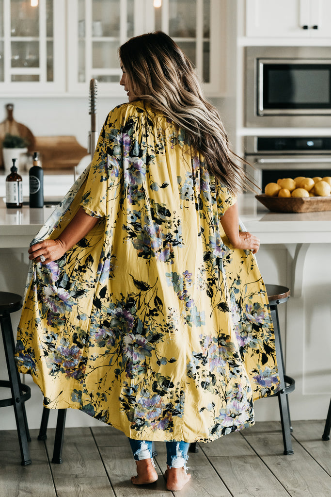 Moments Floral Cardigan Mustard