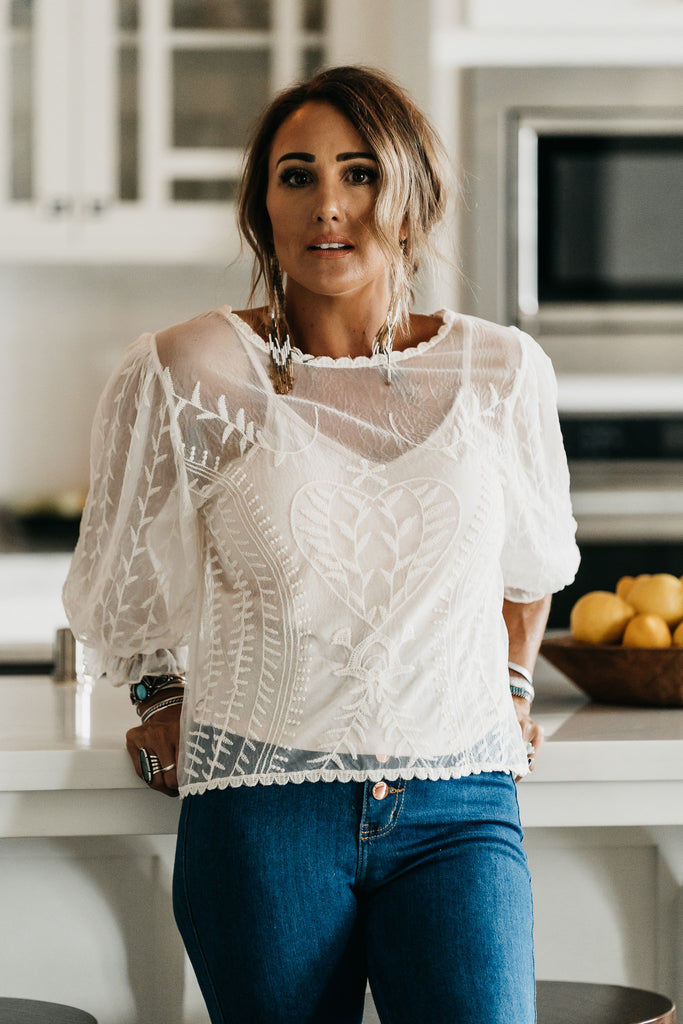 Gabby Lace Top Ivory