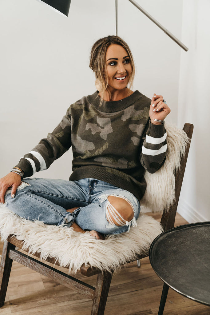 Comfort Comes Easy Camo Sweater