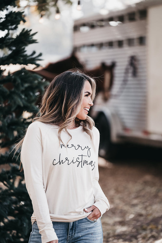 Merry Christmas Long Sleeve Ivory