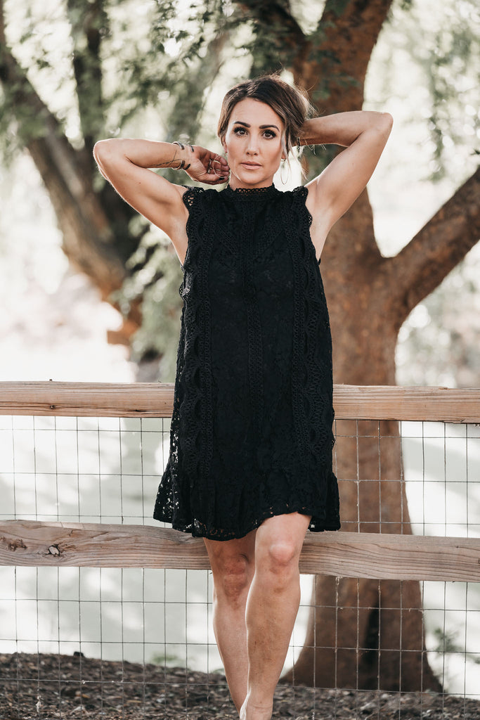 Fine By Me Lace Dress Black