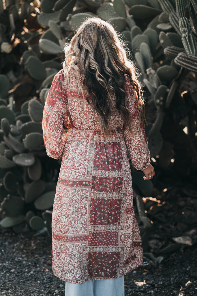Divine Print Cardigan Red Clay