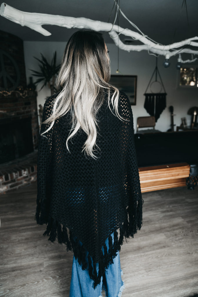 Fall For Me Knit Kimono Black