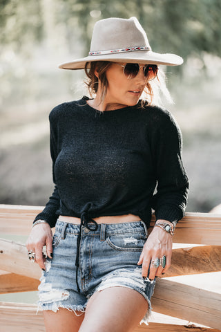 Fall Feelings Knit Top Black