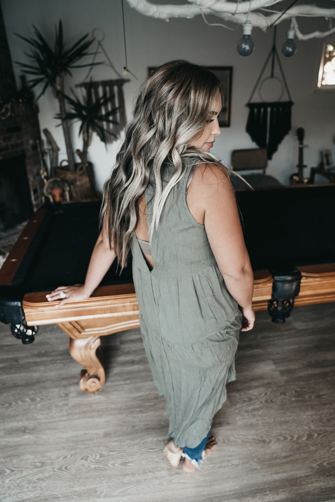 Easy Breezy Hi Low Tank Olive