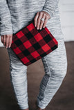 Buffalo Plaid Wristlet - Blk/Red