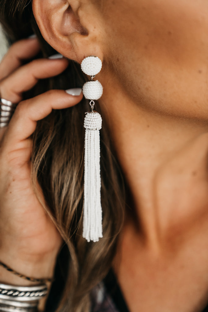 Duplicate Beaded Earrings White