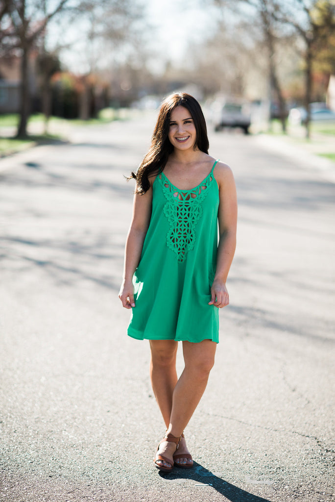 Kelly Green or Coral Short Dress