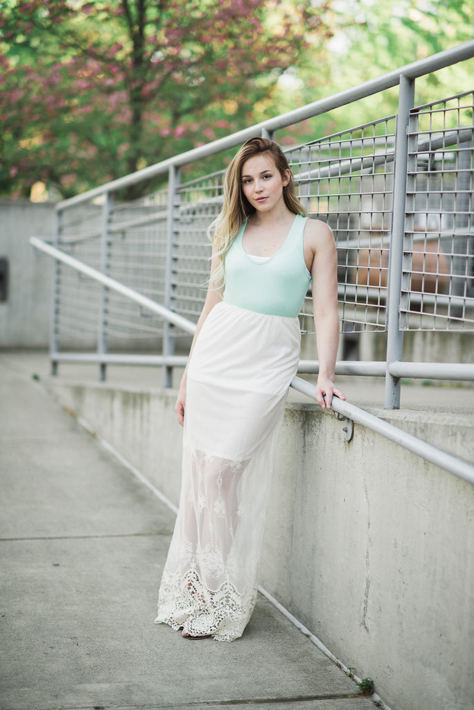 Sweet Lace Mint & Ivory Maxi Dress