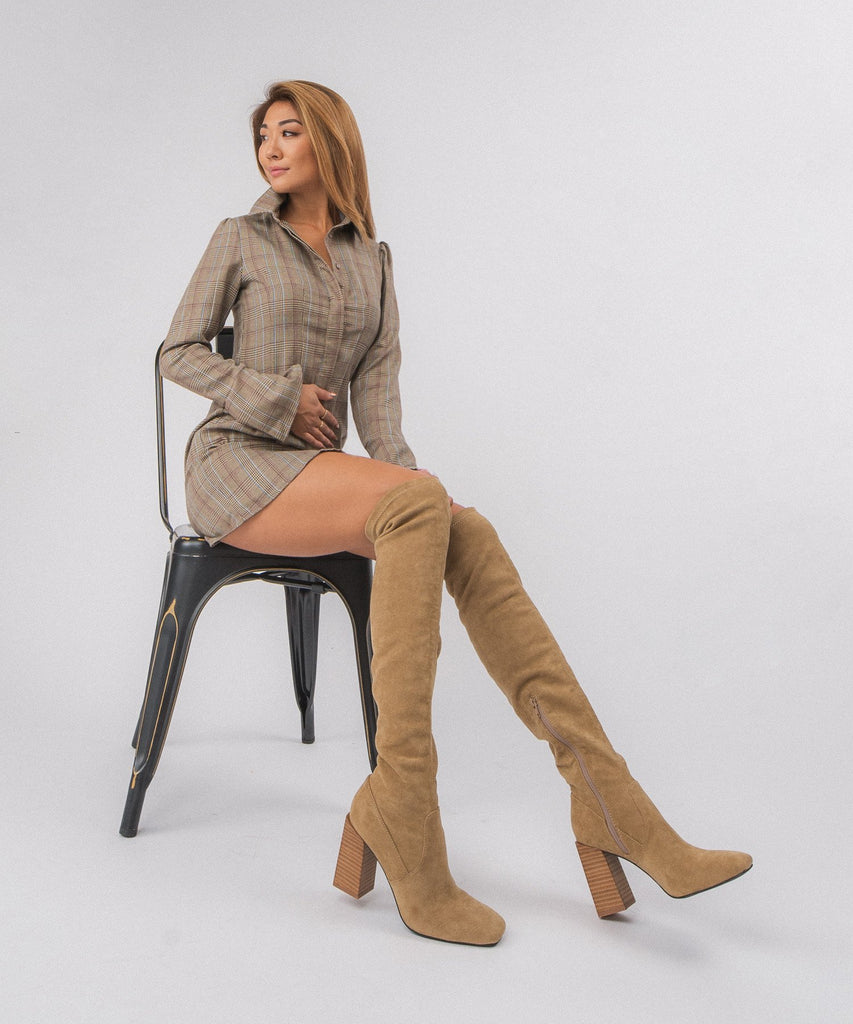 Faye Over The Knee Boot Tan