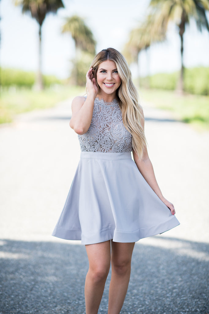 Luxxel Brand Lace Top Dress - Grey