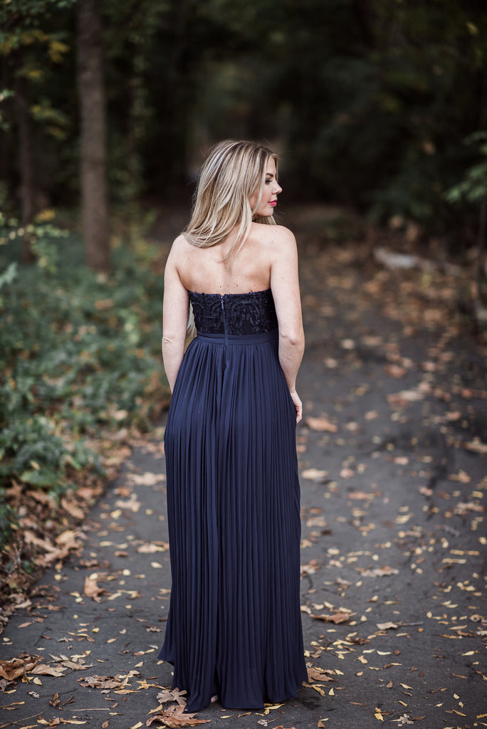 Pleated Strapless Maxi - Navy Blue