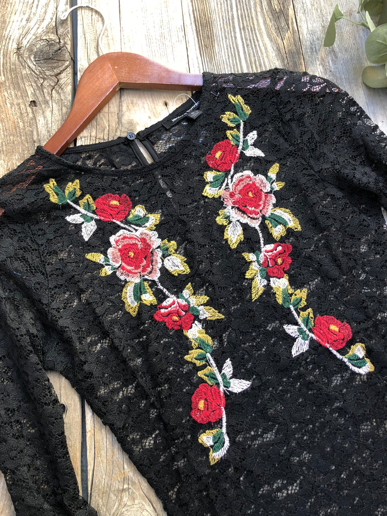 Embroidered Lace Bodysuit