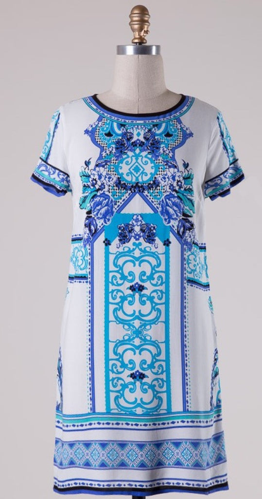 Short Sleeve Print Shift Dress - Blue