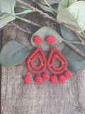 Bora Bora Beaded Earrings Red